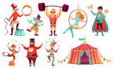 Fototapeta Fototapety na ścianę do pokoju dziecięcego - Circus characters. Juggling animals, juggler artist clown and strongman performer. Cartoon vector illustration set