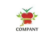 Healthy Food Logo / Red Apple With Measuring Tape, Leaves, And Human Icon