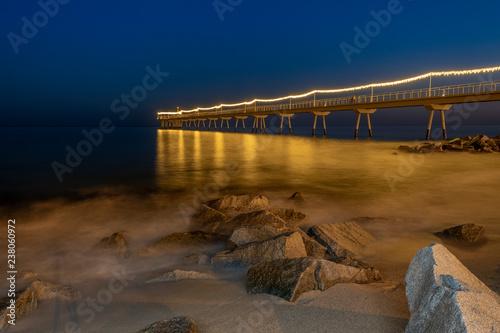 Fotografiet  Bridge with light for christmas