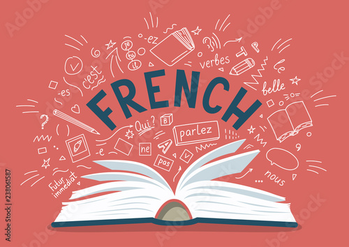 Photo  French. Open book with language hand drawn doodles and lettering.