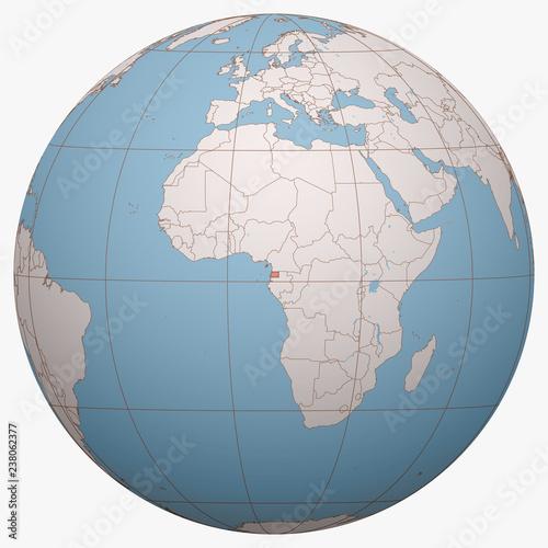 Fotografía  Equatorial Guinea on the globe
