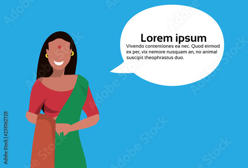 Indian Woman Bindi Standing Chat Bubble National Traditional Clothes Female Cartoon Character Portrait Horizontal Portrait Flat Buy This Stock Vector And Explore Similar Vectors At Adobe Stock Adobe Stock