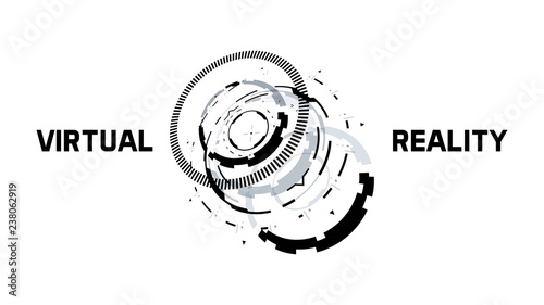 3D Futuristic Technology Circle Elements Design Wallpaper Mural