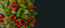 Close Up Of Christmas Tree Branches And Holly Berry On Dark Background