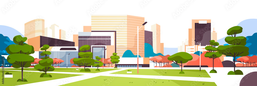 Fototapeta urban empty city park pathway skyscraper buildings view modern cityscape downtown horizontal banner flat