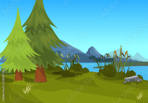 Foto op Plexiglas Blauw landscape spruce mountain river outdoor nature background flat horizontal