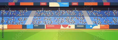 empty football stadium field arena filled tribunes before start match flat banner