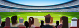 Fototapeta Sport - empty football stadium field silhouettes of fans waiting match rear view flat banner