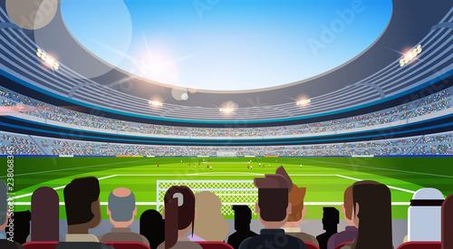 Cuadros en Lienzo empty football stadium field silhouettes of fans waiting match rear view flat ho