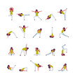 set woman doing yoga exercises female cartoon character fitness activities isolated diversity poses healthy lifestyle concept full length flat