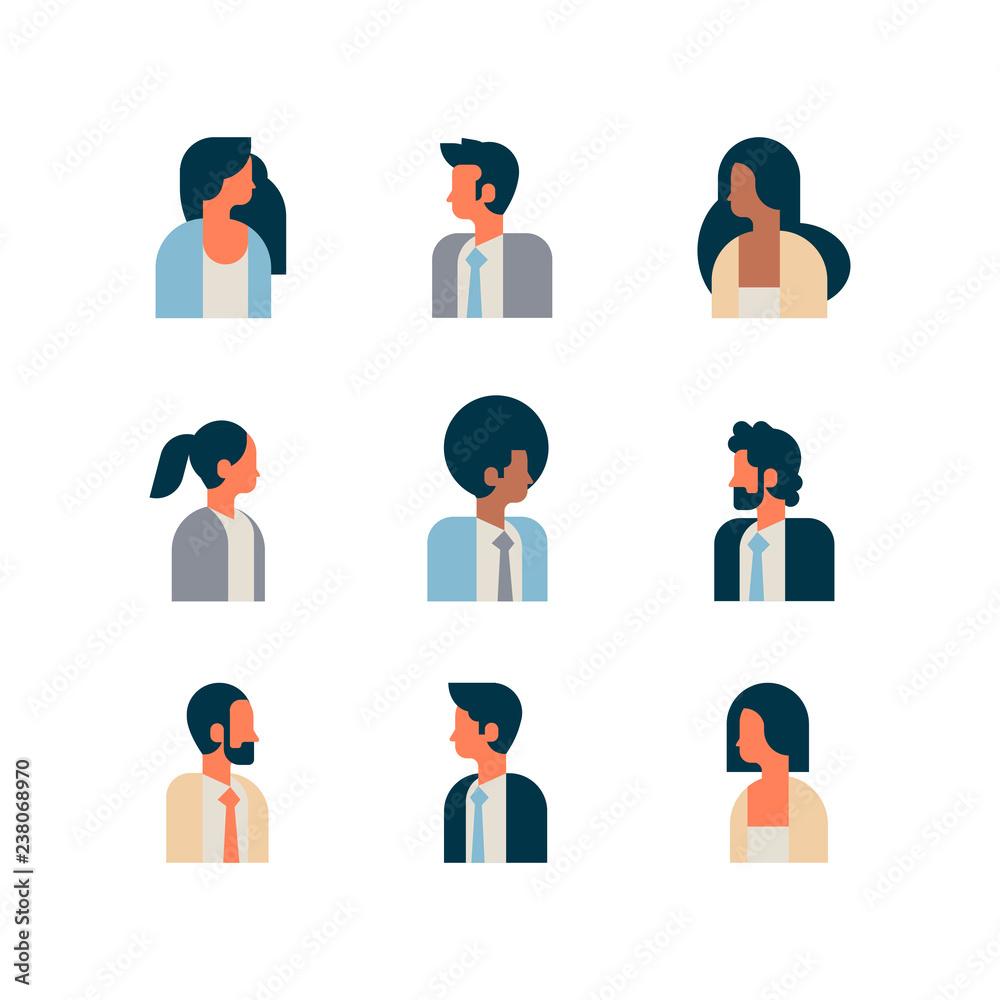 Fototapeta set woman man character portrait profile male female white background avatar mix race cartoon flat