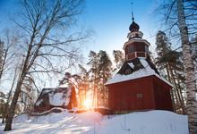 Old Wooden Church In The Open-air Museum Seurasaari Island, Helsinki, Finland..