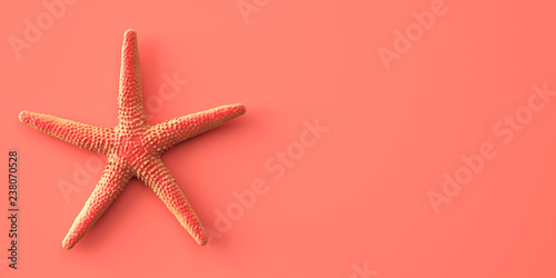 Living Coral color of the Year 2019. Background with starfish in trendy color