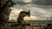Gargoyles On Notre Dame De Paris Overlooking Paris, France