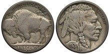 US United States Rare Date Coin 5 Five Cents 1921, Buffalo Left, Indian Chief Head Right, Date Below,