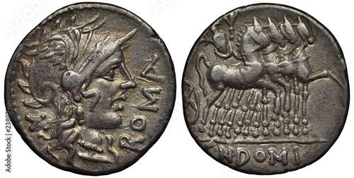 Photo Ancient Roman Republic silver coin, denarius, 116-115 BC, head of Roma in winged