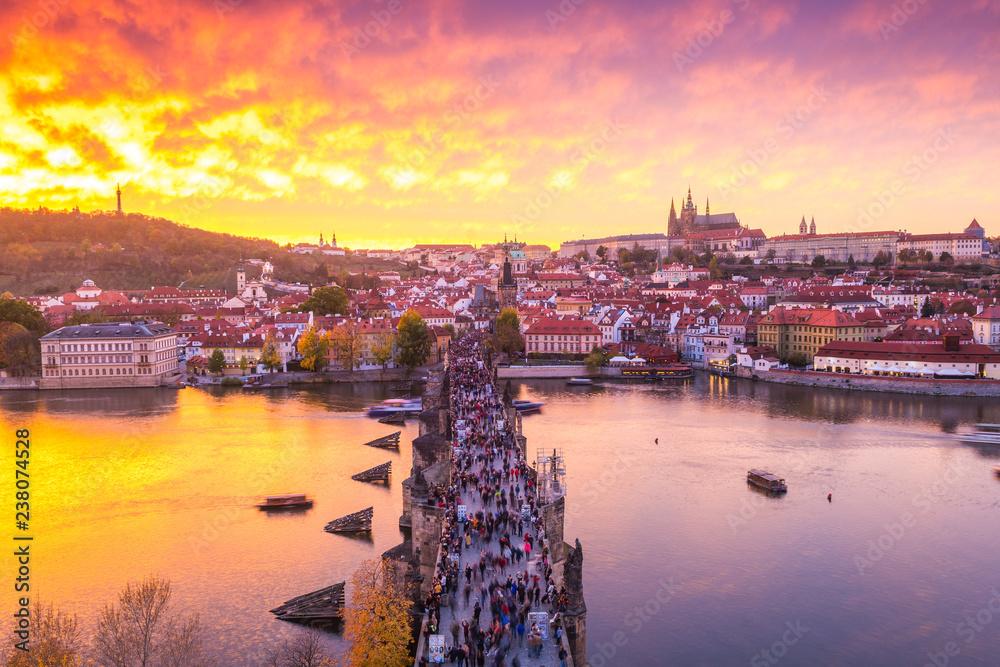 Fototapeta panoramic view of Prague at sundown