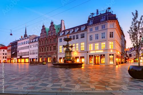 Montage in der Fensternische Lavendel Stroget street, Amagertorv, Copenhagen, Denmark