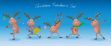 Christmas Reindeers Set. Vector Template For Chrismas Or New Year.