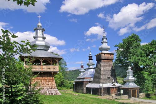 Foto auf Gartenposter Altes Gebaude Wooden church in Berest village near Krynica-Zdroj, Low Beskids (Beskid Niski), Poland