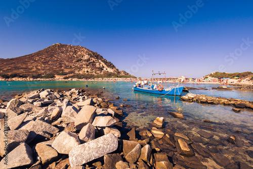 Foto op Aluminium Algerije Transparent and turquoise sea in Punta Molentis, Villasimius.