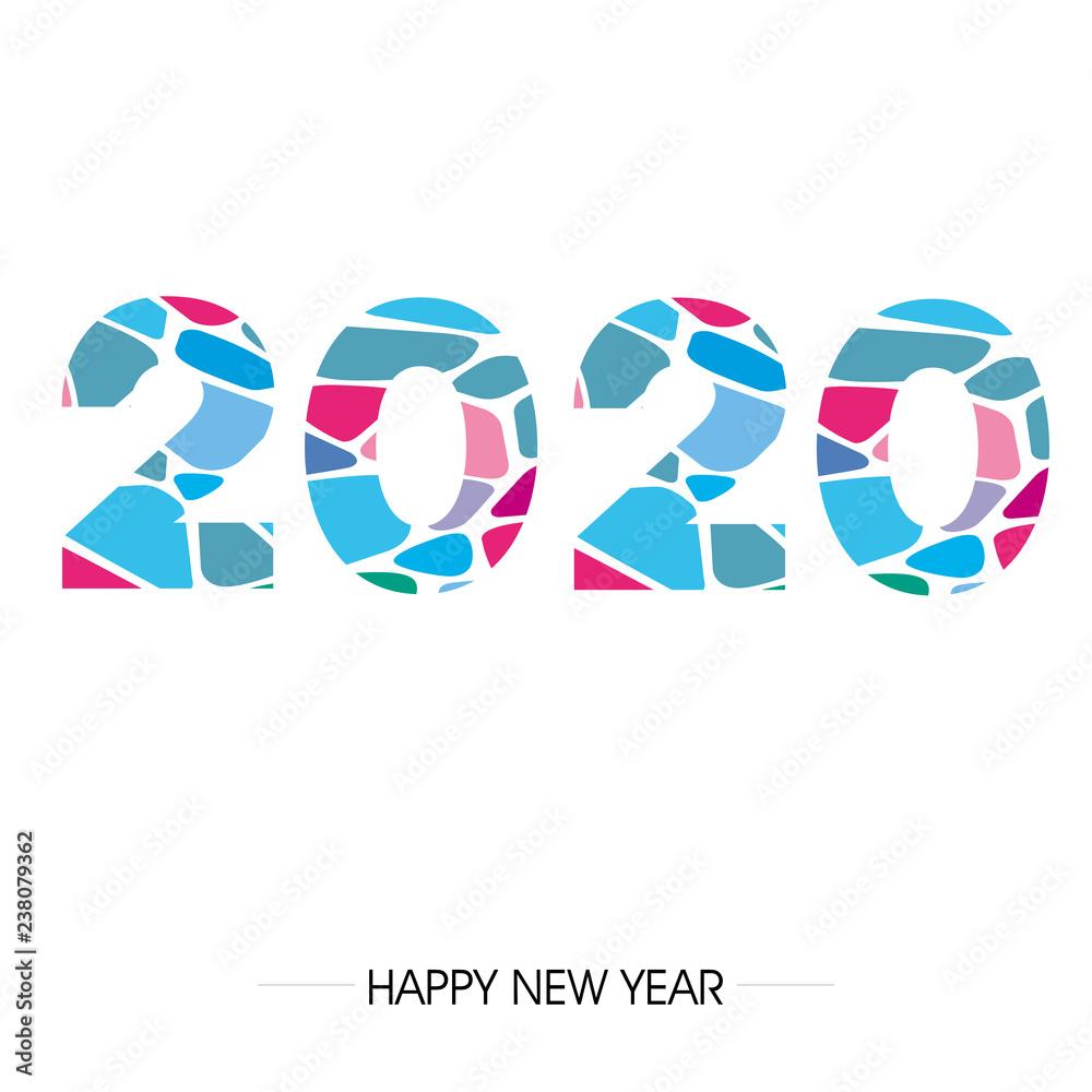 Fototapeta zakrzywiony napis fontem 2020 lub 2019 na tle. Projekt znaku graficznego z napisem szczęśliwego nowego roku. Ilustracja wektorowa