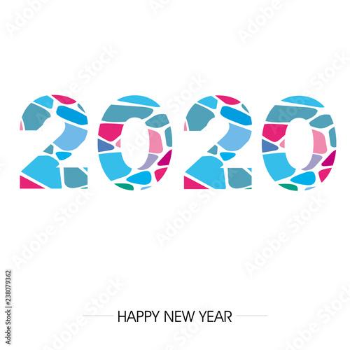 Fototapeta zakrzywiony napis fontem 2020 lub 2019 na tle. Projekt znaku graficznego z napisem szczęśliwego nowego roku. Ilustracja wektorowa  obraz