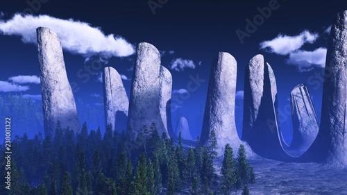 Foto auf Leinwand Dunkelblau Stonehenge Landscape with Christmas trees 3d rendering