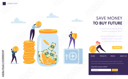Obraz na plátně Save Money Safe Landing Page Template