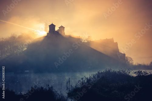 Fototapeta Krakow, Poland, abbey in Tyniec misty sunrise obraz