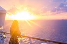 Blond Watching Sunset From Cruise Ship In Caribbean Sea Near Philipsburg, St Martin