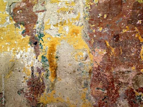 Mur En Ciment Avec Anciennes Couches De Peintures Patinées