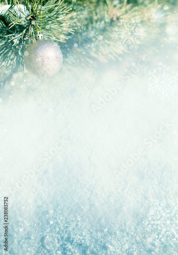 Template of Christmas background with pine branches, Christmas decoration, bokeh and snowflakes - 238083752