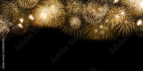 Obraz Silvester Feuerwerk Sylvester Neujahr Textfreiraum Copyspace Gold golden Hintergrund Banner Neues Jahr Neuen Neu - fototapety do salonu