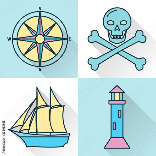 Photo  Sea collection of ship and nautical icons in line style