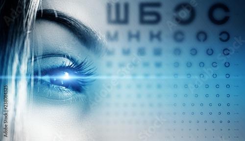 Fotografía  Human female eye closeup, human vision test, alphabet chart, table