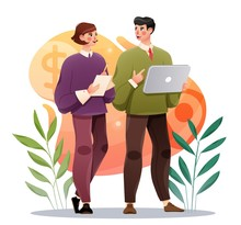 Business Colleagues Discussing Project. Businessman And Woman With Tablet. Office Work Concept. Vector