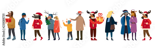 Photo Anthropomorphic Set of animals in human winter clothes coats, jackets, curls, shaws, Bear, cat, deer, horse, rabbit, hare, fox, elk