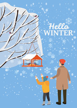 Hello Winter, Snow Landscape, Bird Feeder With Feed, Birds, Dad With Son Stand Near A Tree Covered With Snow, Vector, Illustration, Isolated, Banner, Poster, Card, Cover For Books, Magazines