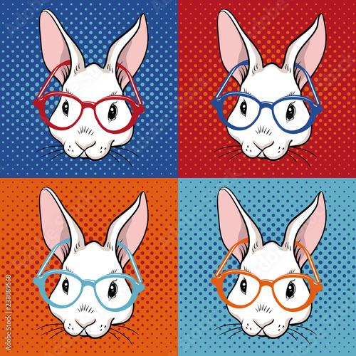 Rabbit pop art illustration Canvas Print