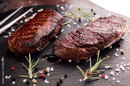 Foto op Plexiglas Steakhouse Barbecue Rib Eye Steak or rump steak - Dry Aged Wagyu Entrecote Steak