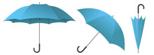 Cyan Umbrella Vector Illustration
