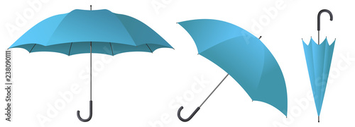 cyan umbrella vector illustration Wallpaper Mural