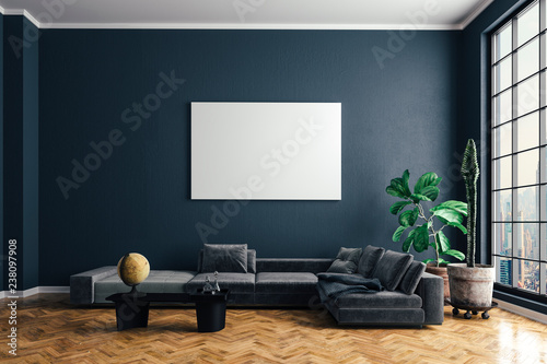 Obraz 3d render of beautiful interior with sofa and wooden floor - fototapety do salonu