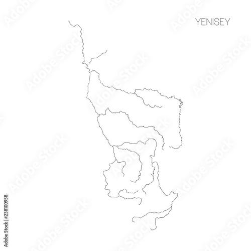 Fototapeta Map of Yenisey river drainage basin. Simple thin outline vector illustration. obraz