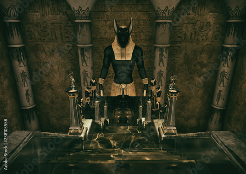 A scene with a ladder which leads to a huge statue of the Egyptian God Anubis Wallpaper Mural
