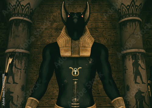 Photo A scene with a close-up view of a huge statue of the Egyptian God Anubis