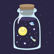 Cartoon Full Moon With Stars I...