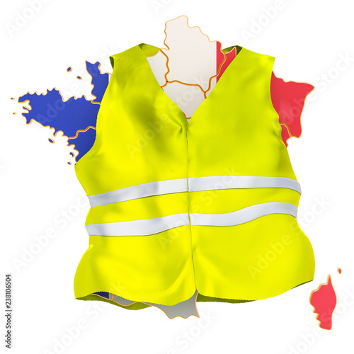Fotografía  French protests concept. Yellow vests movement, 3D rendering