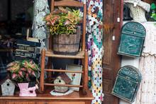 Antique Shop Window With Vario...